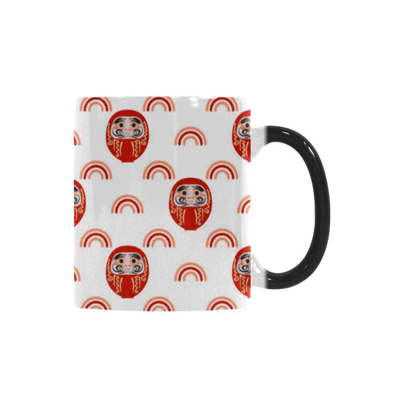 Daruma japanese wooden doll design pattern Morphing Mug Heat Changing Mug