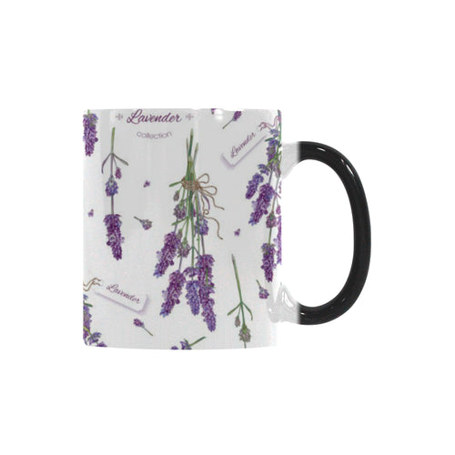 lavender flower design pattern Morphing Mug Heat Changing Mug