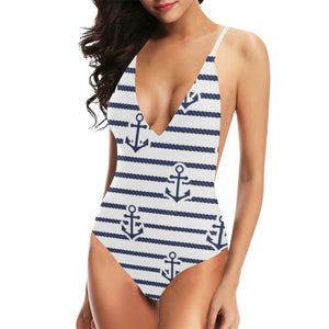 Anchor rope nautical  pattern Women's One-Piece Swimsuit