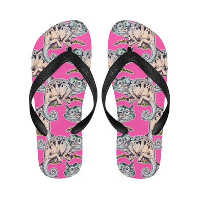Chameleon lizard pattern pink background Unisex Flip Flops