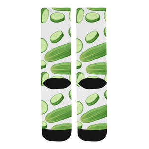 cucumber whole slices pattern Crew Socks