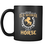 Black Mug-Never Underestimate an Old Woman With a Horse ccnc002 hp0010