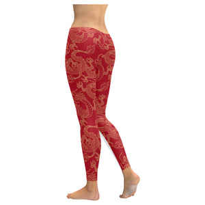 Gold dragons red background Women's Legging Fulfilled In US