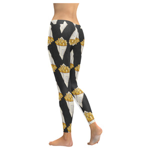 French fries dark background Women's Legging Fulfilled In US