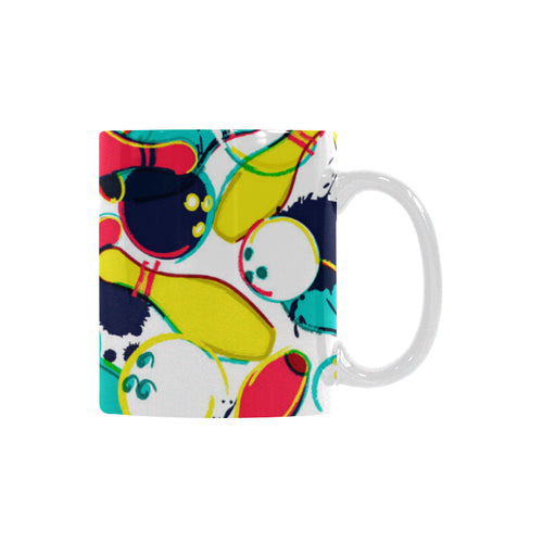 watercolor bowling ball pins Classical White Mug (Fulfilled In US)