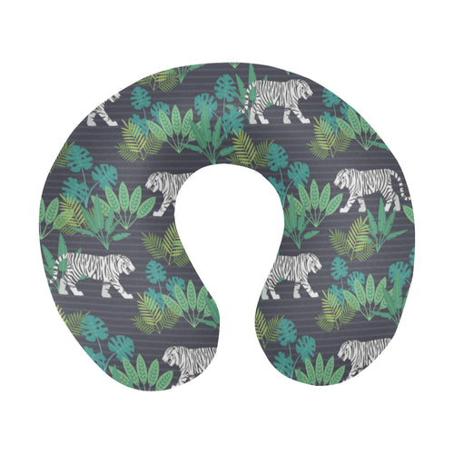 white bengal tigers tropical plant U-Shaped Travel Neck Pillow