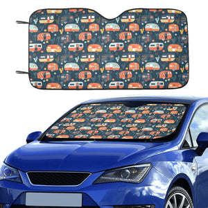 Camper Van Pattern Print Design 05 Car Sun Shade