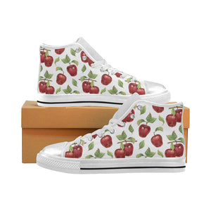 Red apples pattern Women's High Top Shoes White