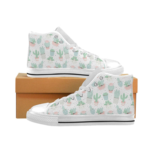 Pastel color cactus pattern Men's High Top Canvas Shoes White