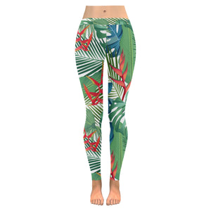heliconia palm and monstera  leaves pattern Women's Legging Fulfilled In US