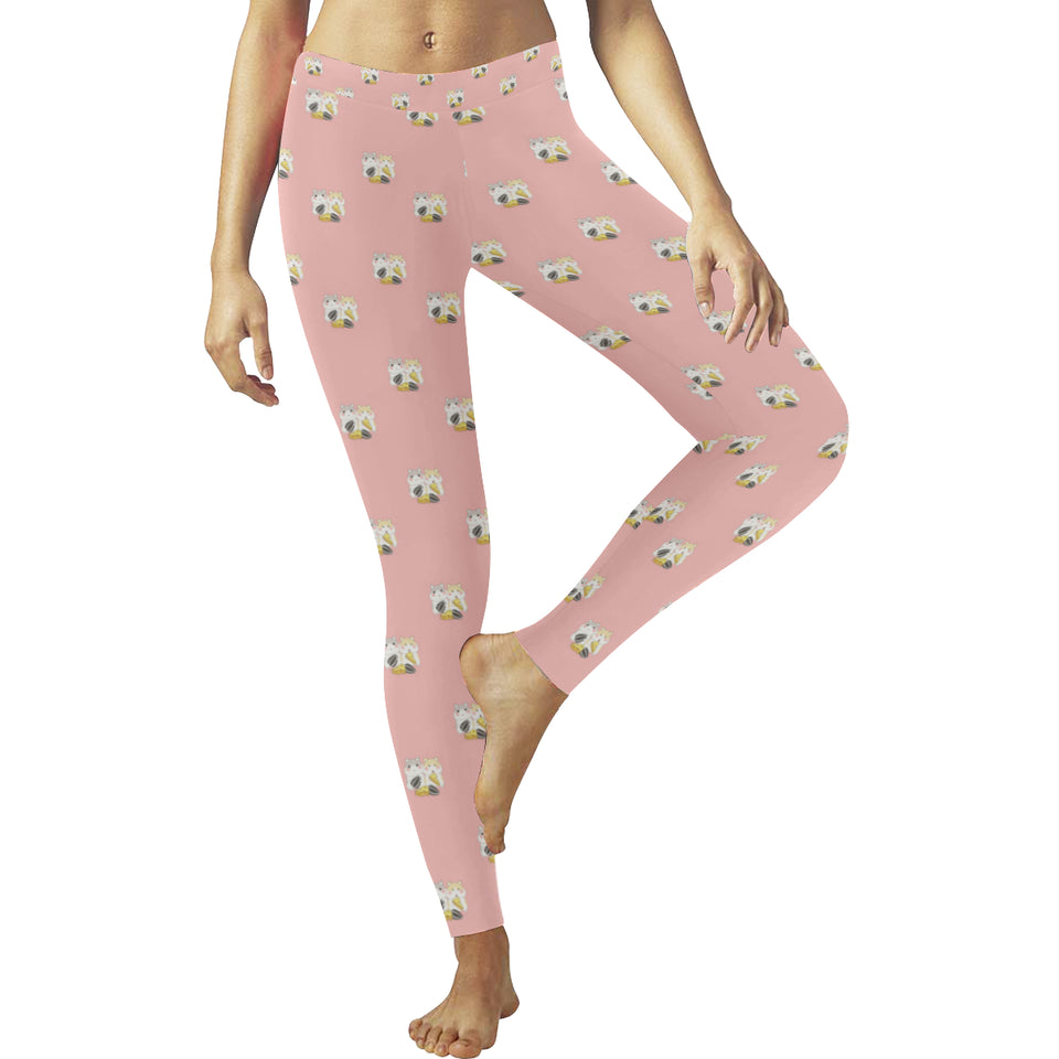 Cute hamster cheese pattern pink background Women's Legging Fulfilled In US