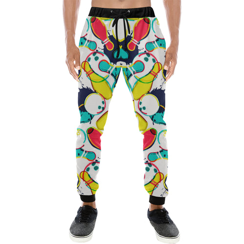 watercolor bowling ball pins Unisex Casual Sweatpants