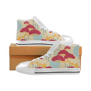 Red Bonsai gray sun japanese pattern Women's High Top Shoes White