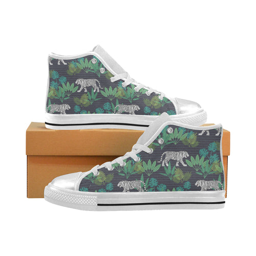 white bengal tigers tropical plant Women's High Top Shoes White Made in USA