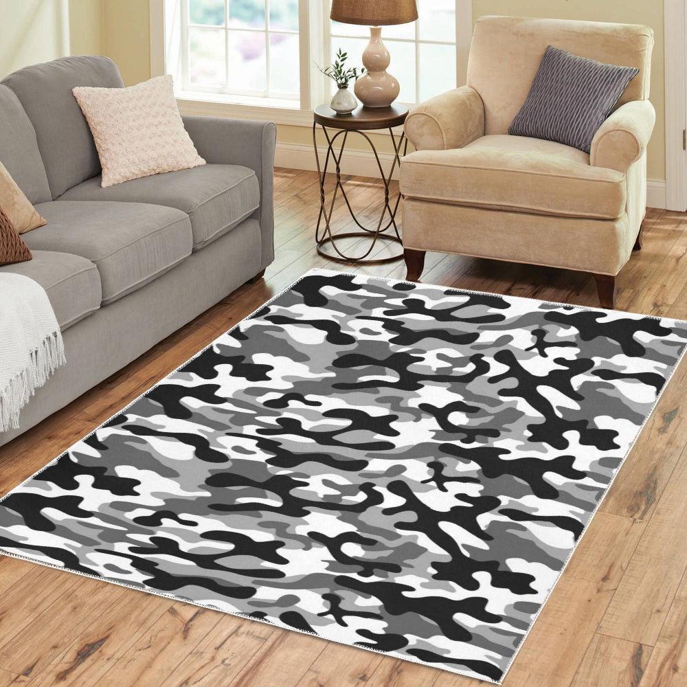 Black white camouflage pattern Area Rug