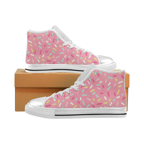 Pink donut glaze candy pattern Women's High Top Shoes White Made in USA