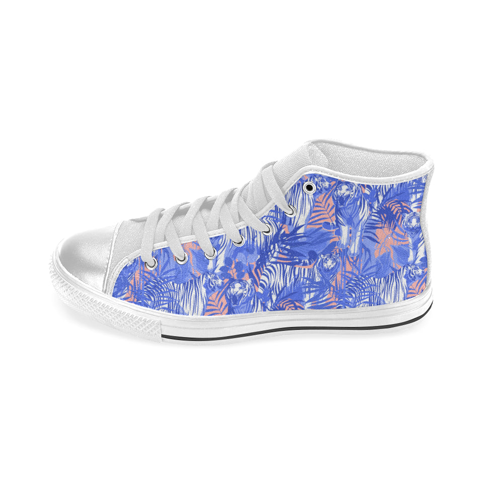 white bengal tigers pattern Women's High Top Shoes White