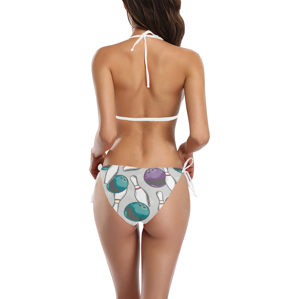 Bowling ball and pin gray background Sexy Bikinis Two-Piece Swimsuits
