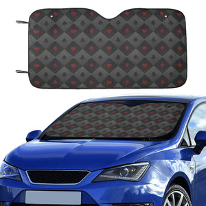 Casino Cards Suits Pattern Print Design 05 Car Sun Shade