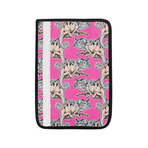 Chameleon lizard pattern pink background Car Seat Belt Cover