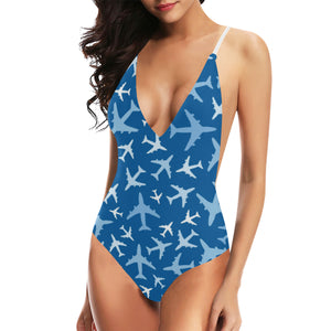 Airplane pattern in the sky Women's One-Piece Swimsuit