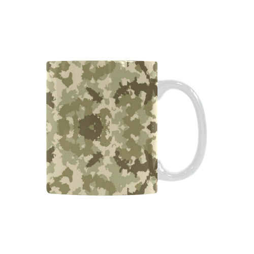 Light Green camouflage pattern Classical White Mug (Fulfilled In US)
