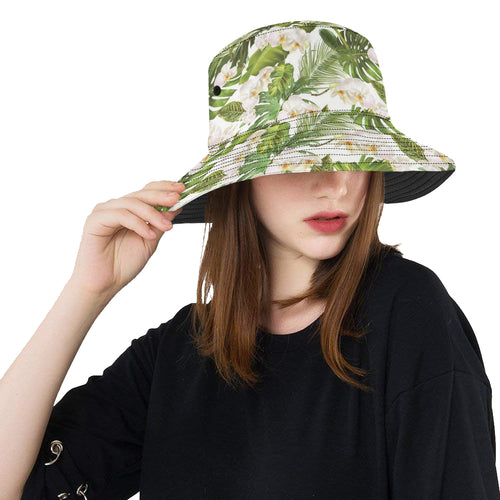 White orchid flower tropical leaves pattern Unisex Bucket Hat