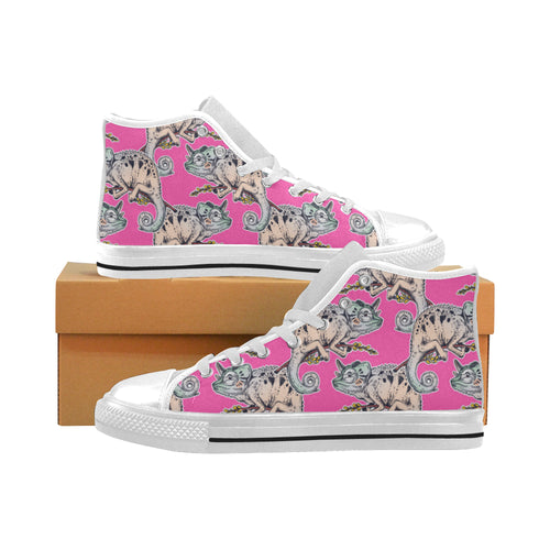Chameleon lizard pattern pink background Men's High Top Canvas Shoes White