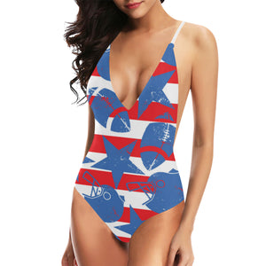 American football ball star stripes pattern Women's One-Piece Swimsuit