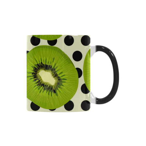 kiwi black dot background Morphing Mug Heat Changing Mug