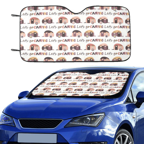 Camper Van Pattern Print Design 01 Car Sun Shade