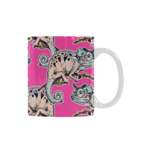 Chameleon lizard pattern pink background Classical White Mug (Fulfilled In US)
