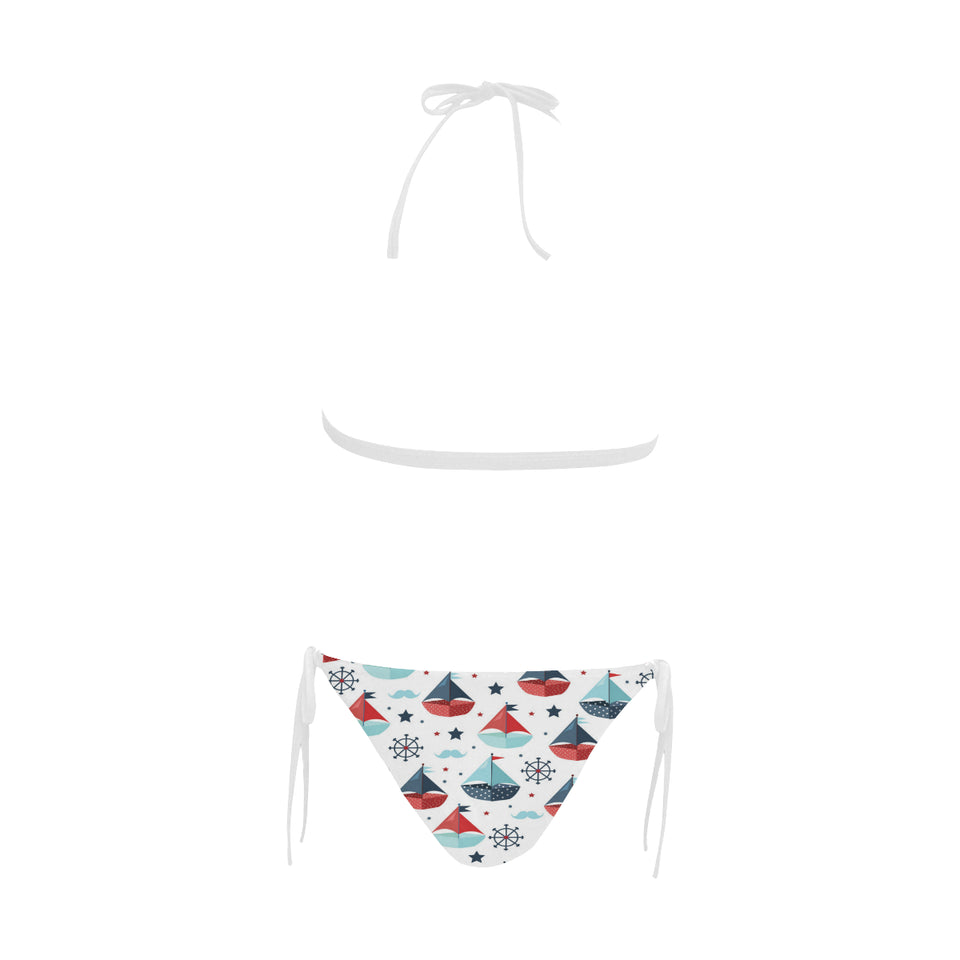 Cute color paper sailboat pattern Sexy Bikinis Two-Piece Swimsuits