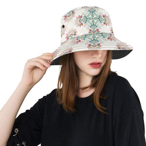 Square floral indian flower pattern Unisex Bucket Hat