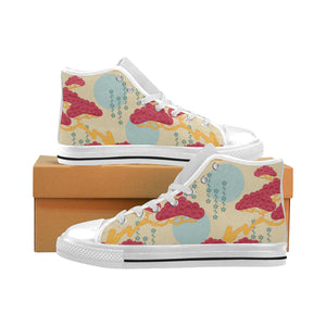 Red Bonsai gray sun japanese pattern Men's High Top Canvas Shoes White