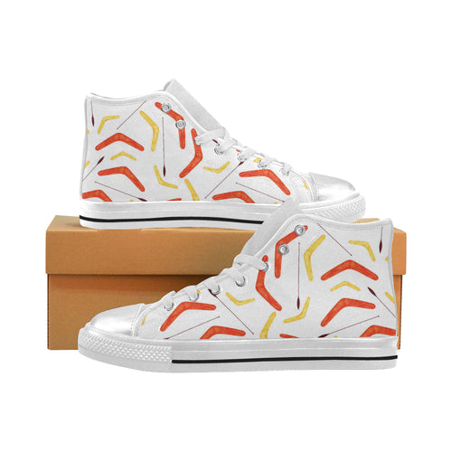 Waterclor boomerang Australian aboriginal ornament Women's High Top Shoes White Made in USA
