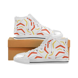 Waterclor boomerang Australian aboriginal ornament Women's High Top Shoes White