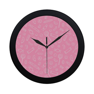 Sweet candy pink background Elegant Black Wall Clock