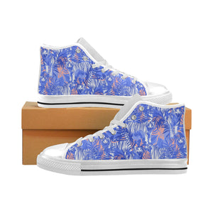 white bengal tigers pattern Men's High Top Canvas Shoes White