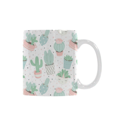 Pastel color cactus pattern Classical White Mug (Fulfilled In US)