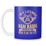 White Mug-I'm A Licensed Ham Radio Operator Proud To Be The 0.2% ccnc001 hr0024