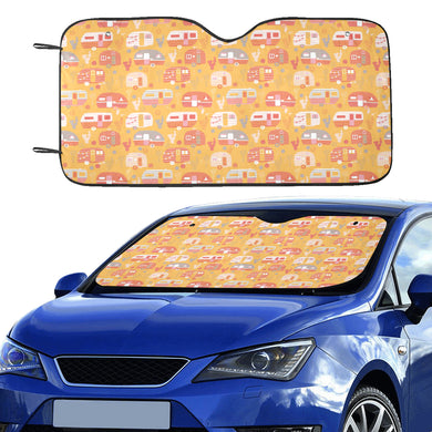 Camper Van Pattern Print Design 04 Car Sun Shade