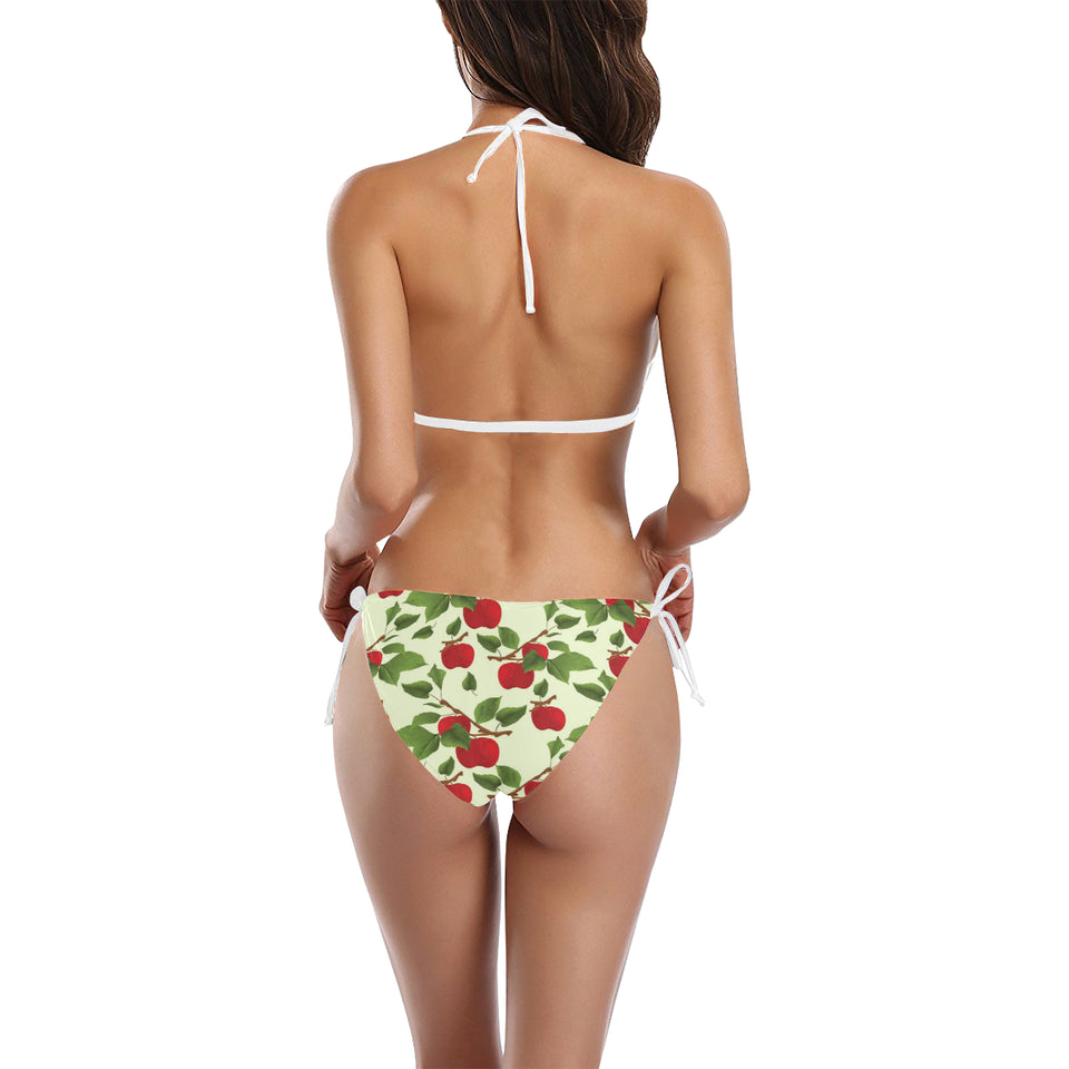 Red apples leaves pattern Sexy Bikinis Two-Piece Swimsuits