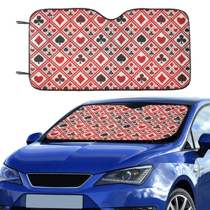 Casino Cards Suits Pattern Print Design 03 Car Sun Shade
