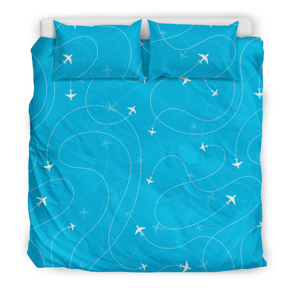 Airplane Destinations Blue Background  Bedding Set