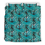 Anchor Nautical Green Background  Bedding Set