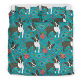 Boston Terrier Beautiful Flower Pattern  Bedding Set
