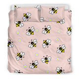 Cute bee flower pattern pink background  Bedding set