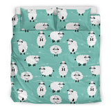 Cute Sheep Green Background Bedding Set