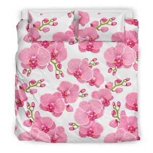 pink purple orchid pattern background Bedding Set